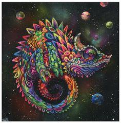 Chameleon Art Print  Surreal Art  Rainbow Lizard  by BlackInkArtz, $12.00