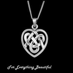 Celtic Heart Knotwork Medium Sterling Silver Pendant