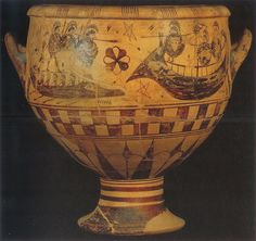 Pithos with lid Krater 650 BCE Blinding of Polyphemus Would have been the centre piece at symposiums (reflects accuracy with Iliad)