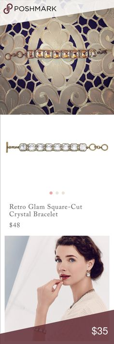 """Retro Glam Square Cut Crystal Bracelet antique brass-plated nickel-free plating 6.75"""" - 7.75"""" approx. length toggle closure clear glass Chloe + Isabel Jewelry Bracelets"""