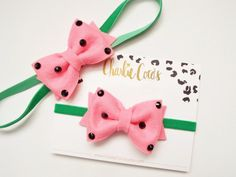 Watermelon Hair Bow Headband Baby/Girls Watermelon por CharlieCocos