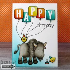 The Alley Way Stamps: Happy Birthday by Simonne Clay | Buff, Cake Day, Hard Boiled, Yappy, TAWS, cards, clear stamps, CAS, buffalo, bison, balloons, birthday, chicks, animal, #TAWS