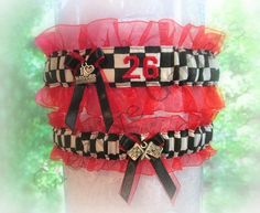 Personalized Embroidered Racing Inspired Wedding Garters - Bridal Garter Set - Custom Garters.