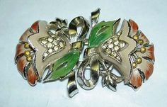 Vintage-CORO-Art-Deco-Gold-Tone-Enamel-Rhinestone-Flower-Duette-Pin-Clip-Brooch