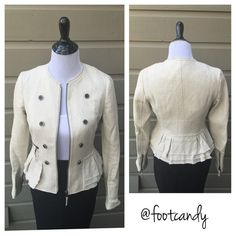 """Banana Republic Cream Blazer Brand: Banana Republic Size: 4 Color: Cream / Beige Material: 98% Cotton, 2% Elastine Bust: 34"""" Underarm to bottom hem: 12"""" Sleeve (uncuffed): 25"""" Back Length (shoulder to hem): 22"""" Condition/Comments: Study material with amazing detail. Pre-owned item in excellent condition. No stains, rips, or tears.   CLOSET RULES: No PayPal, holds, or trades. Reasonable offers through offer button.  BUYER PROTECTION: After purchase items are subject to xtra photo/video with…"""