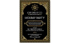 Gatsby Holiday Party Invitation Black Gold por WestminsterPaperCo