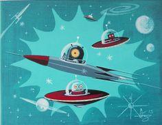 EL GATO GOMEZ PAINTING RETRO 60S VINTAGE SCI-FI ROBOT ROCKET SPACE SHIP MARTIAN #Modernism