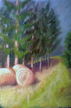 Landscape soft pastels study.   Pastel painting by Veronique BEC   soft pastels painting
