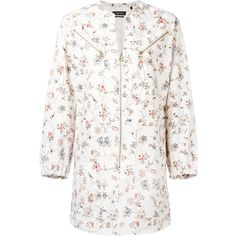 Isabel Marant Telka floral shirt dress (£400) ❤ liked on Polyvore featuring dresses, white, shirt dresses, long white shirt dress, white deep v neck dress, cotton floral dress and white dresses