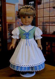 """1850/'s Pioneer Swedish Dirndl Fits 18/"""" American Girl Kirsten Doll NIP"""