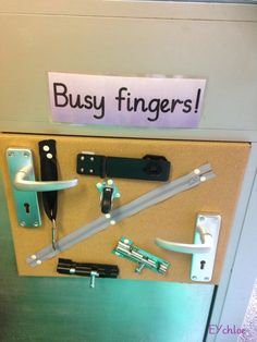 Fine motor busy board with locks, zips, handles etc. Jack would of loved this when he was little.