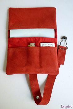 Blague à tabac en cuir velours rouge, pochette à tabac rouge
