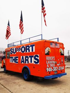 Design sponge city guide is about Denton sights,like the infamous Frenchy's Lawn & Landscaping vans that also promote local events.