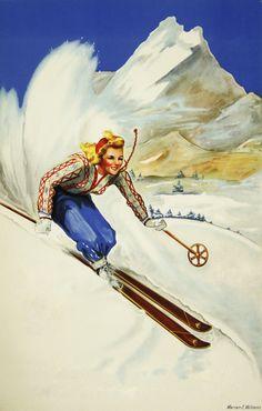 Skiing, art by Marian E. Williams