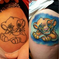 Simba Cub fix up Before & After- byKrzysztof Domanowski at Plus Forty Eight Tattoo in Edinburgh