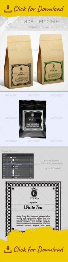 Label Templates For Tea Label templates, Template and Print - product label template