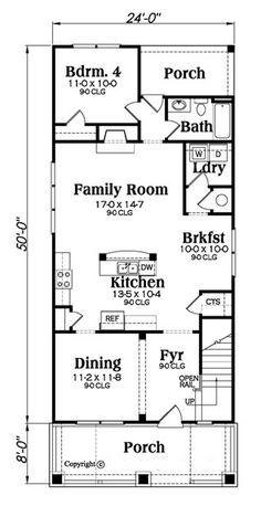 Bungalow Style House Plan - 4 Beds 3 Baths 2211 Sq/Ft Plan #419-297 Floor Plan - Main Floor Plan - Houseplans.com