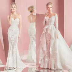 2016 Zuhair Murad Mermaid Lace Wedding Dresses Long Sleeves Detachable Train Sweetheart Neckline Applique Bridal Gowns 2015 Custom Made Brides Wedding Dress Cheap Mermaid Wedding Dress From Toprated, $165.45| Dhgate.Com
