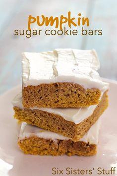 Pumpkin Sugar Cookie Bars Recipe on SixSistersStuff.com