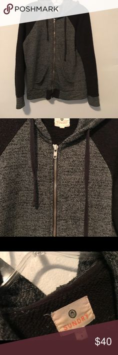 Last chance Sundry zip up hoodie L GUC Smoke and pet free home. Bundle discount 20% Sundry Tops Sweatshirts & Hoodies