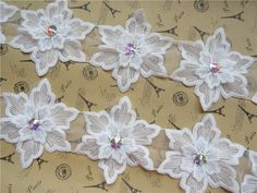 5pcs Vintage Flower Lace Trim Ribbon Wedding Applique Embroidered Sewing Craft #Unbranded