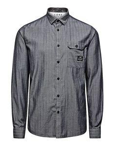 CORE by JACK & JONES - Langärmeliges Hemd von CORE - Slim fit - Standardkragen - Geknöpfte Brusttasche - Fischgrätenmuster - Mit kleinen Markenlogo-Details 100% Baumwolle...