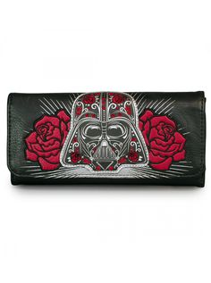 """Star Wars Darth Vader Sugar Skull Roses"" Wallet by Loungefly (Black) #InkedShop #DarthVader #Darth #wallet #StarWars"