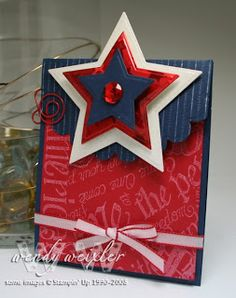 handmade Fourth of July card .... luv the Spellbinder's star with three popped layers ... bold use of color ... luv it!