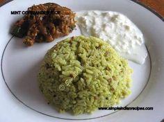 Mint Corriander Rice - Pudhina Pulav - Pudhina Kothamalli Sadam   Simple Indian Recipes