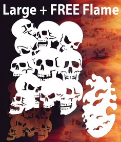 Airbrush Skull Background 2 + Flame Stencil Skulls Template Spray Vision