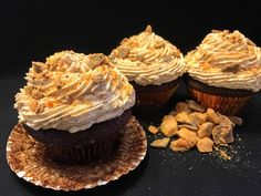 Rich chocolate cupcakes with a light, fluffy Butterfinger buttercream frosting