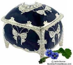 Musical Blue Enamel Rectangle Trinket Box,,beautiful!