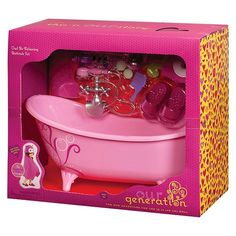 Sweet relaxation is just around the corner for your Our Generation dolls with the Our Generation Home Accessory - Pink Slipper Tub. The Our Generation dolls are so active that sometimes they just need to kick back in the bath tub and relax, especially after a day with the horses. There's no doubt that these Our Generation accessories are going to provide hours and hours of creative play and fun with a slipper tub, slippers, a hooded towel and so much more.