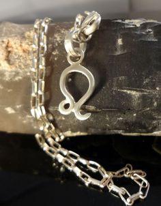 "Leo Zodiac Pendant Necklace, Handmade, .925 Sterling silver, 22"" long.   #Handmade #Pendant"