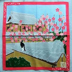 Japanese Wrapping Cloth Small Furoshiki 50x50cm Walkies Cat Ume-blossoms Kyoto