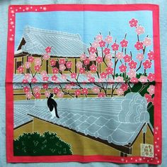 Japanese Wrapping Cloth Small Furoshiki 50x50cm Walkies Cat Ume-blossoms Kyoto