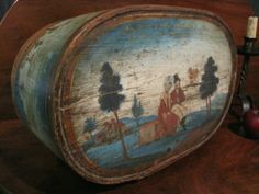Antique 1700 Early RARE Folk Art Best Colors Wooded Painted German Bride's Box   eBay