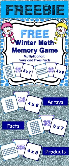 Winter FREE: This winter math game makes practicing fours and fives multiplication facts fun! Included are 45 memory cards for students to match the multiplication array, multiplication fact, and product. This is a perfect activity for small groups and centers during the winter season!
