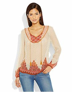 AVALON BORDER PEASANT TOP.  Love the colors and texture of this top
