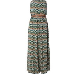Alice & You Belted Bandeau Maxi Dress (61 CAD) ❤ liked on Polyvore featuring dresses, women, maxi dress, elastic waist belt, summer dresses, print maxi dress and tribal print dress