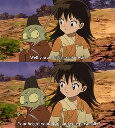 Rin innocently insulting Jaken - screenshots from InuYasha