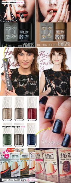 sally hansen, nails inc, essie, leather effect, couro, unhas, esmalte, nail art, new, lancamento, french mani, inglesinha, glitter, repstyle