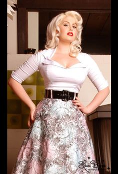 Doris top in white - $52  Add the belt for $11 and the full skirt for $65 for the complete retro pinup look!