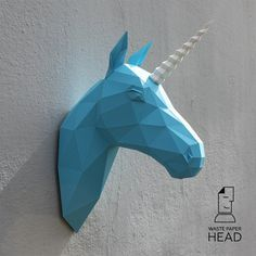 Papercraft unicorn head printable DIY template by WastePaperHead