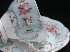 "4:00 Tea...Royal Albert...""Claudette"" teacup and saucer...Rose-Du-Barry Series"