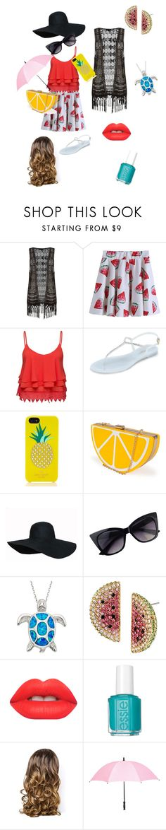 """Going to the beach"" by ilbronson ❤ liked on Polyvore featuring Volant, L.K.Bennett, Kate Spade, Nila Anthony, Betsey Johnson, Lime Crime, Essie, Lipsy and Leighton"