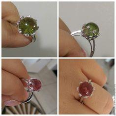 Купить Кольцо с султанитом цветок - разноцветный, султанит, диаспор, камень-хамелеон, кольцо с султанитом