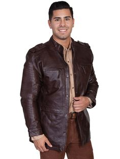 Scully Leather Mens Cafe Top Grain Calf Military Jacket