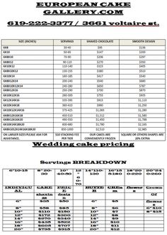 cake sizes and prices wedding