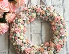 Wooden letter hand painted and decorated using high quality handmade paper flowers. Finished by framing In a matching floral frame. This is the ultimate girly gift and is perfect for all occasions! Paper Flower Wreaths, Fabric Wreath, Easter Wreaths, Holiday Wreaths, Flower Crafts, Paper Flowers, Floral Wreath, Shabby Chic Crafts, Girly